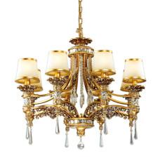 2803/8 HALL ODL15 467 зол/декор старое золото/плафон стекло Люстра E14 8*60W 220V PETA